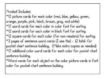 Color Sorting Flashcards Pocket Chart sight words see the red blue