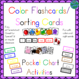 Color Sorting Flashcards Pocket Chart sight words (I see t