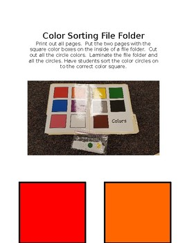 Color Sorting File Folder Game