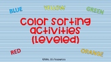 Leveled Color Sorting Activities