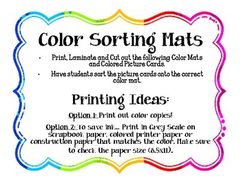 Color Sorting Mats Center