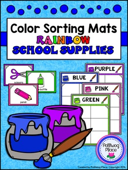Color Sorting Mats: Rainbow School Supplies