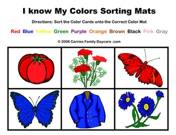 Color Sorting Mats Set 1