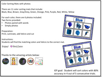 Color Sorting Mats with Photos