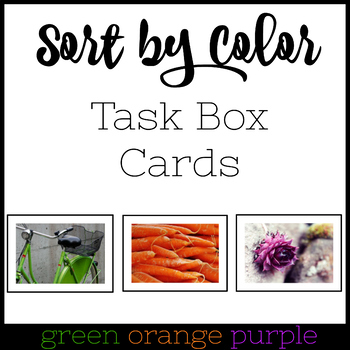 Color Sorting TEACCH Task Box Cards -Purple Green Orange