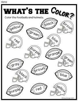 Color Sorting and Color Words - Football Fun - DOLLAR DEAL