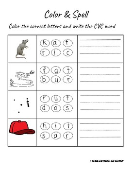 Color & Spell- Color the Correct Letters & Write the CVC Word