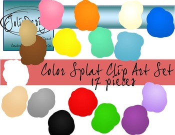 Color Splat Clip Art - 17 pc set