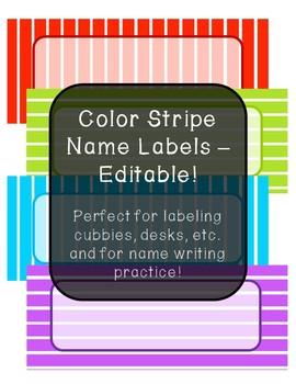 Color Stripe Name Labels - Editable!