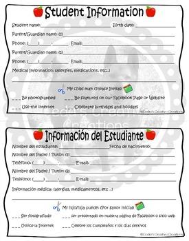 Color Student Information Sheet English-Spanish