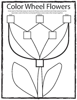 Color Wheel Swatch Flower Coloring Sheet