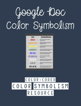 Color Symbolism Resource Sheet