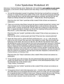 Color Symbolism Worksheet