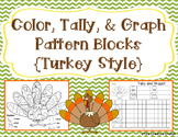 Color, Tally, and Graph Pattern Blocks - Thanksgiving Turk