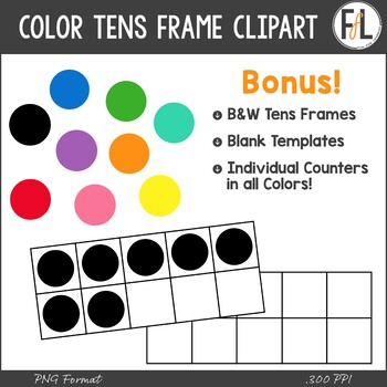 Color Tens Frames Clipart