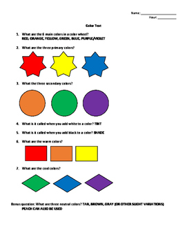 Color Test ANSWERS