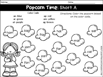Color The Popcorn No Prep: Word Families