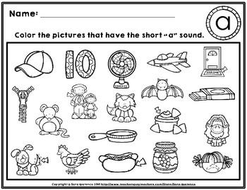 Color The Short Vowel CVC Words Phonics Practice