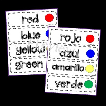 Color Themed Word Wall Cards: Colors, Fruits and Flavors in English & Spanish
