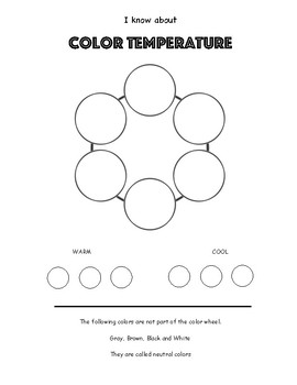 Color Theory Art Worksheet. Color Wheel. Identify Warm & Cool Colors + Neutrals