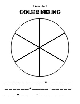 Color Theory Art Worksheet. Color wheel formulas. Primary and Secondary Colors.