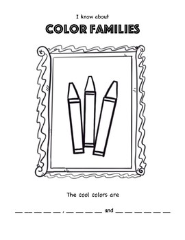 Color Theory Art Worksheet. Warm and Cool Colors. Color Family Coloring Page.