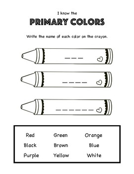 Color Theory Art Worksheet. Primary Colors, Rainbow Order and Roy G Biv