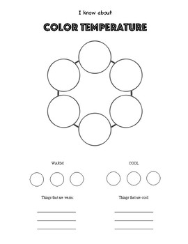 Color Theory Art Worksheet. Warm and Cool Colors with Examples.