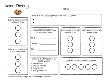 Color Theory Assessment/Worksheet