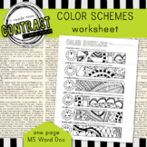 Color Theory Color Scheme Worksheet  with Monochromatic, Triadic, etc.