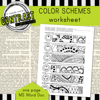 color theory color scheme worksheet with monochromatic triadic etc. Black Bedroom Furniture Sets. Home Design Ideas