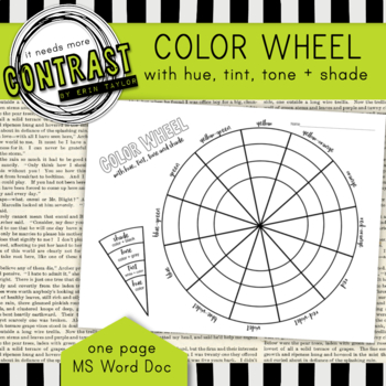 Color Theory Color Wheel Worksheet with Hue, Tint, Tone and Shades