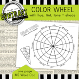 Color Theory Color Wheel Worksheet with Hue, Tint, Tone an