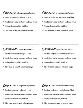 Color Theory Painting Checklist