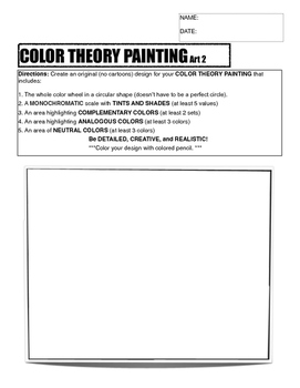 Color Theory Painting Planning Sheet: Art 2