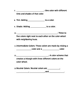 Color Theory PowerPoint Worksheet Vocabulary