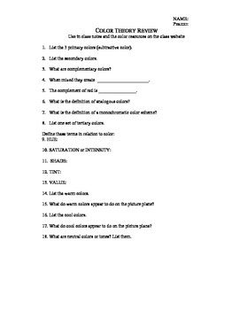 Color Theory Worksheet & Answer Key