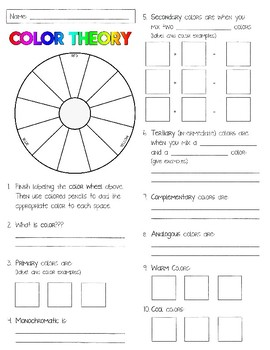 Color Theory Worksheet / Handout