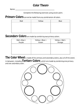 Color theory worksheets teaching resources teachers pay teachers color theory worksheets color theory worksheets fandeluxe Image collections
