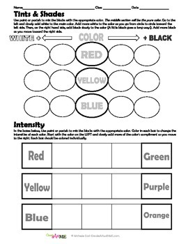 Color Tints, Shades & Intensity Worksheet