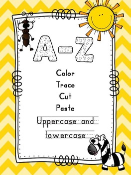 Color Trace Cut and Paste A-Z Letter Recognition (American spelling)