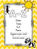 Color Trace Cut and Paste A-Z Letter Recognition (American