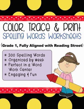 **Word Work Center** Color, Trace & Print Spelling Words {Program Aligned!}