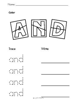 Color, Trace, Write Sight Words