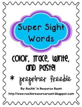 Color, Trace, Write, and Paste! - Preprimer Freebie!!