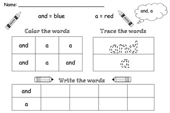 Color, Trace and Write Worksheets