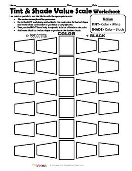 Color VALUE Tints and Shades 4 Worksheets Packet