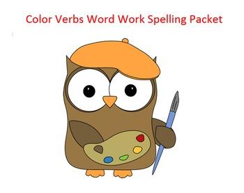 Color Verbs Word Work Packet – 20 words no prep spelling p
