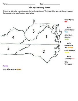 Color Virginia Bordering States Worksheet