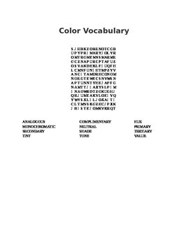 Color Vocabulary Art Word Search